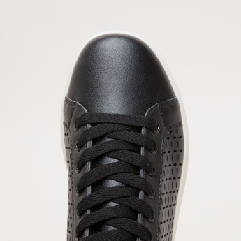Laser Cut Detail Sneakers with Cushioned Tongue