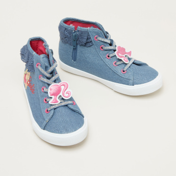 Barbie Printed High Top Shoes with Zip Closure and Lace Detail