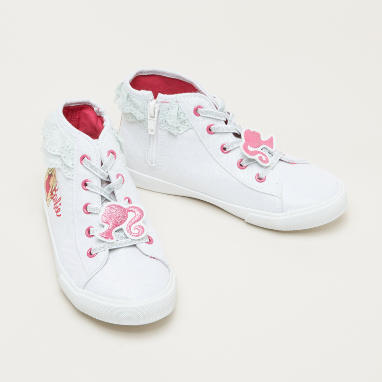 Barbie Printed Lace Up High-Top Shoes with Zip Closure
