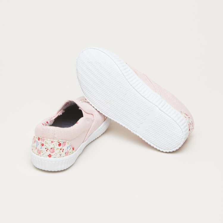 Embroidered Applique Detail Slip-On Shoes with Elasticised Gussets