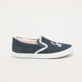 Textured Slip-On Shoes with Elasticised Gussets