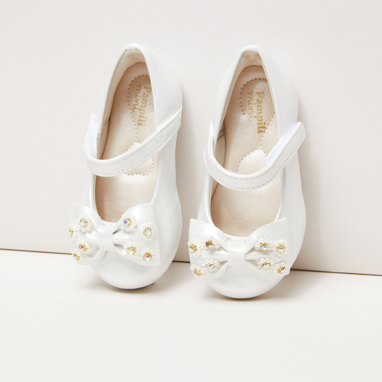 Pampili Bow Applique Mary Jane Shoes with Hook and Loop Closure