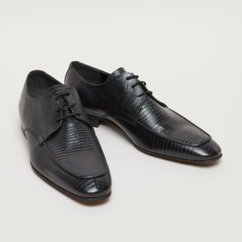 Textured Lace-Up Derby Shoes