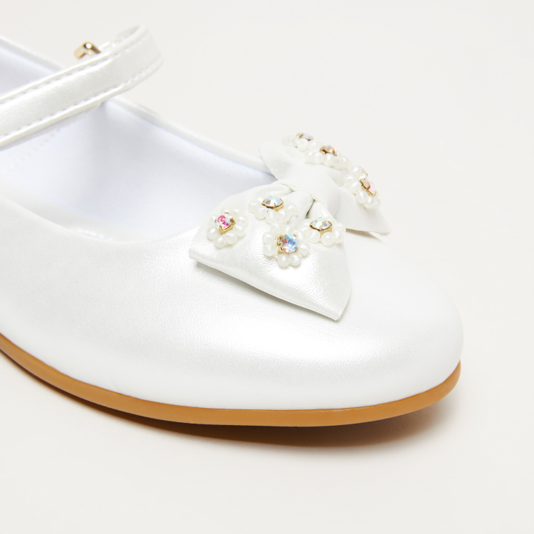 Pampili Embellished Mary Jane Shoes with Hook and Loop Closure