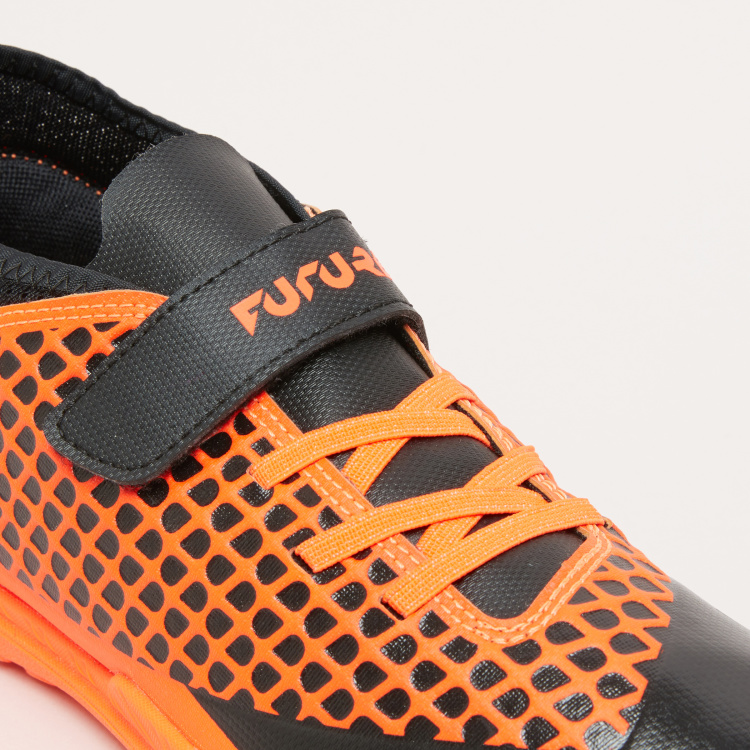 PUMA Boys' Textured Football Shoes with Hook and Loop Closure