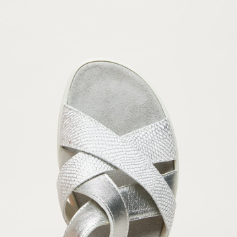 IMAC Cross Strap Sandals with Pin Buckle Closure