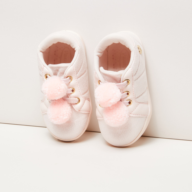 Pampili Textured Sneakers with Pom Pom Detail