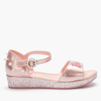 Barbie Embellished Sandals with Buckle Closure