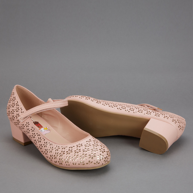 Elle Laser Cut Detail Shoes with Hook and Loop Closure