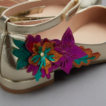 Elle Flower Applique Detail Mary Jane Shoes with Ankle Strap