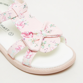 Floral Printed Bow Detail Sandals