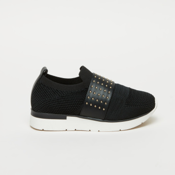 ELLE Textured Slip-On Shoes with Studded Vamp