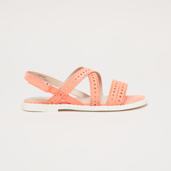 Cutwork Strap Sandals with Hook and Loop Closure