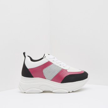 Kappa Colour Block Textured Lace-Up Sneakers
