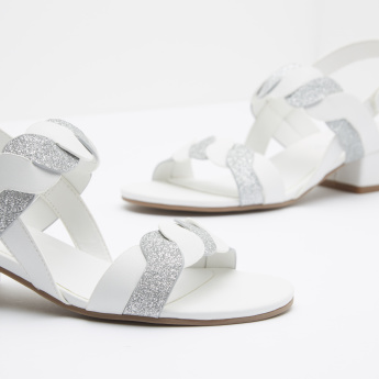 Glitter Ankle Strap Sandals with Hook and Loop Closure