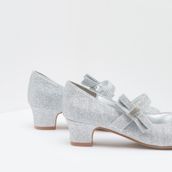 ELLE Mary Jane Glitter Shoes with Hook and Loop Closure