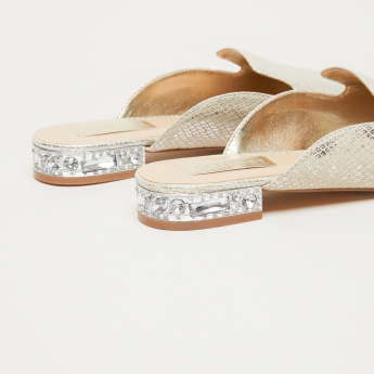 Textured Slides with Embellished Heels