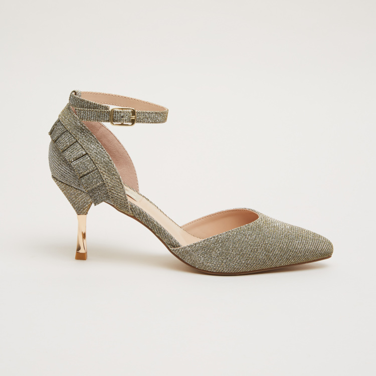 Textured Ankle Strap d'Orsay Pumps with Ruffle Detail