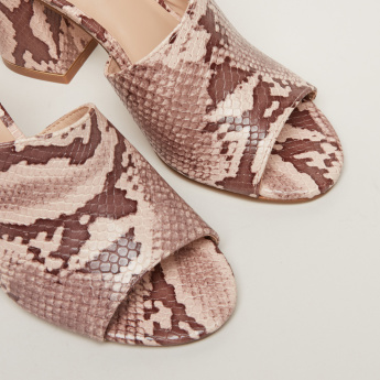 Snake Detail Block Heel Shoes with Peep Toes