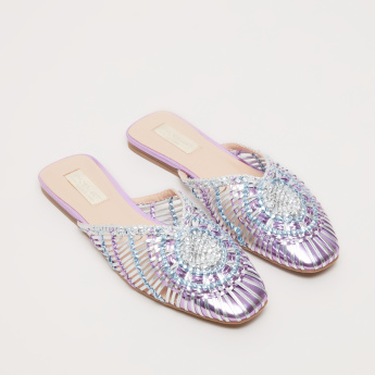 Weave Pattern Slip-On Sandals