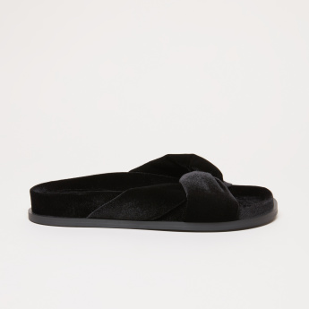 Elle Textured Cross Strap Slides