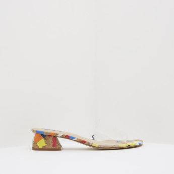 ELLE Printed Low Heel Sandals with Transparent Vamp