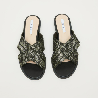 Elle Textured Slides with Crossed Straps