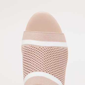 Striped and Knit Detail Slides with Block Heels