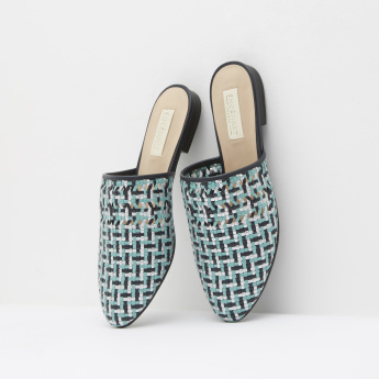 Weave Textured Mules with Slip-On Closure