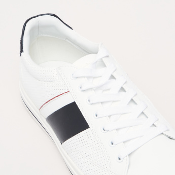 Lee Cooper Lace-Up Sneakers with Perforated Pattern