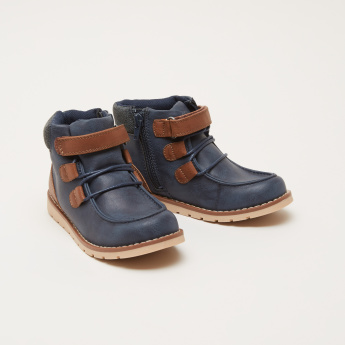 Contrast Stitch High Top Shoes with Zip Closure