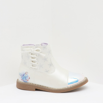 Frozen Printed High Top Boots with Zip Closure