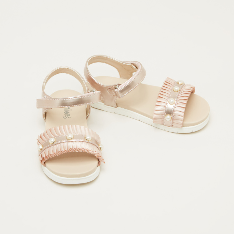 Juniors Embellished Sandals with Hook and Loop Closure