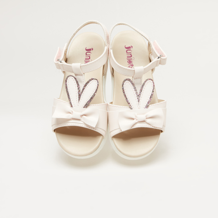 Juniors Bow Detail Ankle Strap Sandals with Hook and Loop Closure