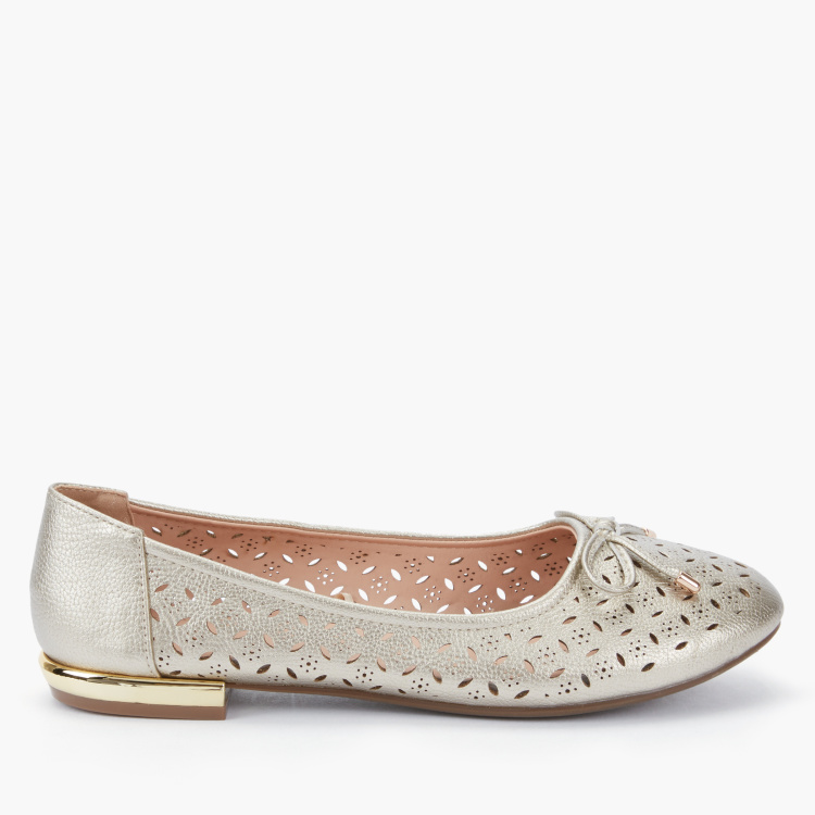 Little Missy Laser Cut Detail Slip-On Ballerina Shoes