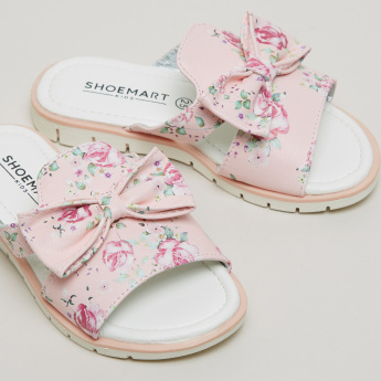 Floral Printed Slides with Bow Detail