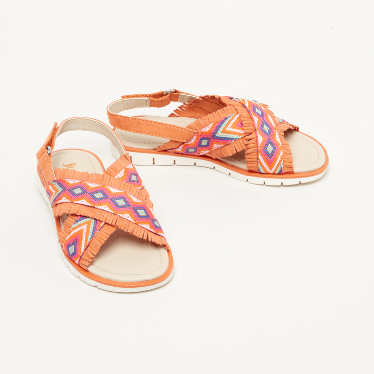 Juniors Embroidered Cross Strap Sandals with Hook and Loop Closure