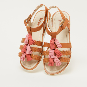 Juniors Stitch Detail Slides with Tassels and Hook and Loop Closure