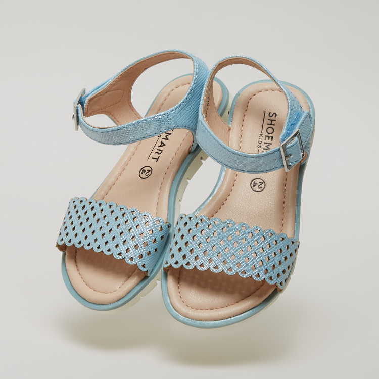Lasercut Detail Sandals with Pin Buckle Closure