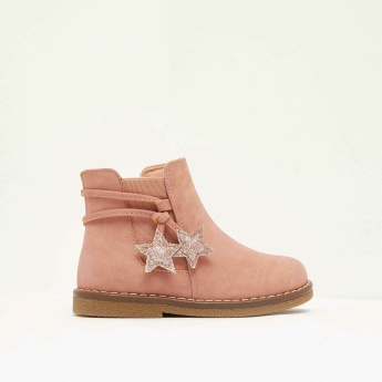 LBL Solid Ankle Boots with Zip Closure and Star Accent