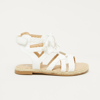 Juniors Weave Detail Sandals with Hook and Loop Closure
