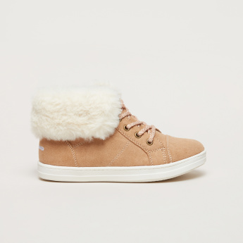 Lace-Up High Top Boots with Plush Detail
