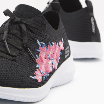 Skechers Women's Lace Up Mesh Walking Shoes with Floral Accent