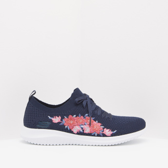 Skechers Walking Shoes with Lace-Up Closure and Floral Embroidery Work