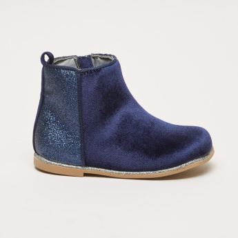 Textured High Top Boots with Zip Closure