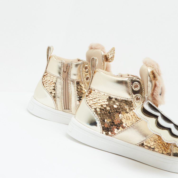 Lace Up Embellished Shoes with Applique Detail and Lace Up Closure