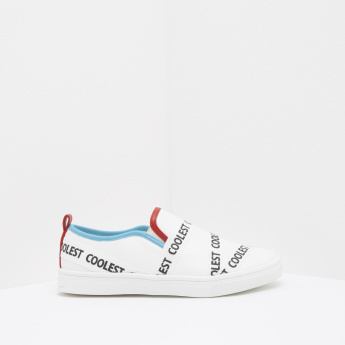 Text Printed Slip-On Shoes