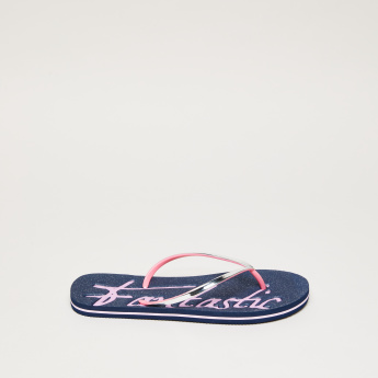 Embossed Flip Flops with Glitter Detail