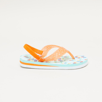 Juniors Printed Flip Flops with Laser-Cut Detail and Elasticised Strap