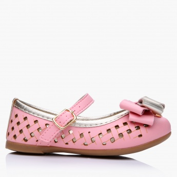 Klin Laser Cut Merry Jane Shoes with Buckle Closure